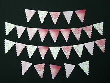 50 PRE-CUT SMALL BUNTING PINK GIRL BIRTHDAY EDIBLE CAKE RICE WAFER PAPER FLAGS