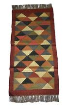 Hand Woven Jute Wool Kilim Runner 2'x4' Patchwork Rug For Children Room DN-1709