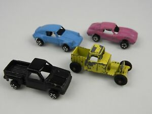 4 Vintage Tootsietoy Miniature Cars Pick-up Porsche Hot Rod Corvette Roadster