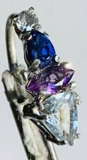 Zircon navel ring belly bar Duchess Sterling Silver Topaz, Amethyst, Sapphire &