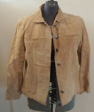 Chicos Tan 100% Leather Metal Button Down Jacket Coat LS Sz 2 Pocket Brown Beige