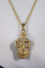 Women Fashion Long Necklace Skull Skeleton Head Gold Chain Pirate Bones Bling