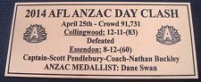 Collingwood Magpie 2014  ANZAC DAY CLASH Gold  Plaque F/Post