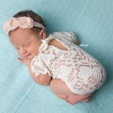 Newborn Baby Girl Lace Floral Romper Jumpsuit Bodysuit Photo Prop Clothes Outfit