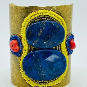DePetra Cuff Bracelet Hammered Lapis Lazuli, Seed Beads Glass Red Stone Bracelet