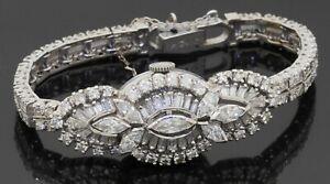 Hamilton antique 14K WG 5.75CTW VS1/F diamond cluster flip-top ladies watch