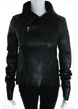 RICK OWENS LILIES Black Leather Long Sleeve Zipper Front Jacket Sz 6