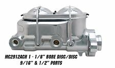 "GM Universal Chrome Master Cylinder GM Chevy, Camaro,1-1/8"" bore Disc/Disc"