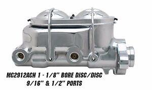"1-1/8"" Bore Aluminum Chrome Master Cylinder - GM, Street Rod,Universal Disc/Disc"