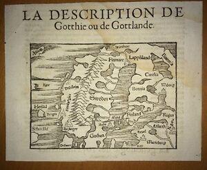 Gravure Du XVIème Siècle. La Description De Gotthie Ou Gottlande.