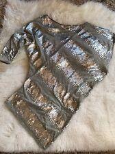 Mark + James by Badgley Mischka Gray Top Silver Sequin Asymmetrical Top Size S