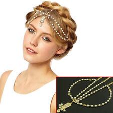 Pretty Metallic Lady Headband Rhinestone Pearl Head Jewelry Hair Band Headpiece