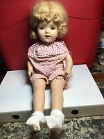 "Vintage Composite Girl Doll With Dress & Socks Sleepy Eyes 20"" Height"