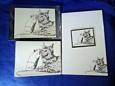 Cat and Mouse 4 Piece Set-Notepad, 6 Blank Notecards-Linen Envs-Print-Magnet-New