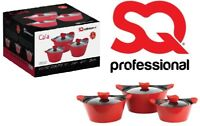 3Pc Non Stick Die Cast Casserole Stockpot Cooking Pot Set With Glass Lid Red