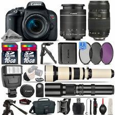 Canon EOS Rebel T7i SLR Camera 800D + 18-55mm + 70-300mm + EXT BATT - 32GB Kit