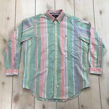 Ralph Lauren Shirt 17-35 Striped Button Front Pastel Color