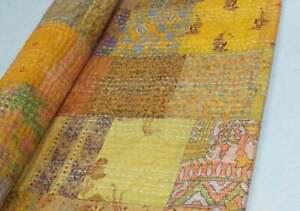 Indian Handmade Queen Size Kantha Decorative bedspread Yellow Patchwork Blanket