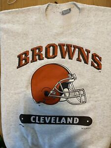 Vtg Cleveland Browns XL Crewneck Sweatshirt USA Made NFL Nutmeg Mills 94