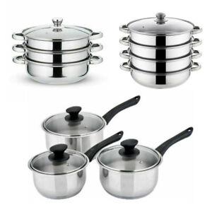 Stainless Steel Cooker Steamer Saucepan Pan Set Cook Food Veg Pot With Glass Lid