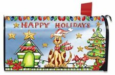 Happy Holidays Dog Magnetic Mailbox Cover Christmas Puppy Standard