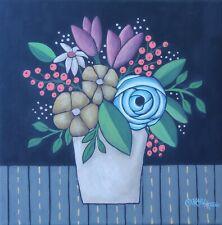 Sunday Floral 12 x 12 ORIGINAL PAINTING Folk ART Flowers PRIM Karla Gerard