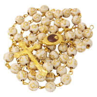 "Beige Rosary Beads with Cross Gold Plated and Holy Soil from Jerusalem 22""/55cm"