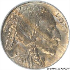 1918 Buffalo Nickel PCGS MS64 Beautiful satin tiger striped toning