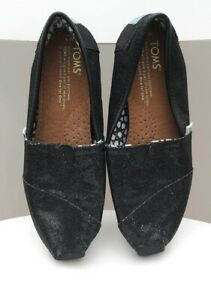 Tom's Sequin Black Shoes Glitter Sparkle Canvas Girl Women's VGC (W5) 3, 35.5