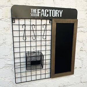 Chalk Black Memo Message Board Metal Wooden Storage Basket Wall Shelf Unit Hooks
