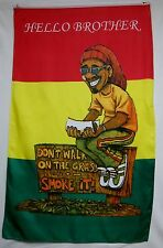 Rastaman Don't Walk On The Grass Smoke It Flag 5' X 3' Hello Brother Banner