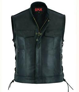 Men's SOA Motorcycle Biker Black Leather Vest Anarchy Club Concealed Carry