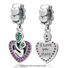 I Love You More Heart Dangle Charm Bead 925 Sterling Silver