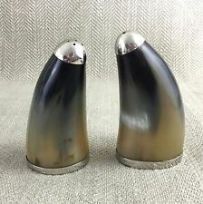 Vintage Silver Plate & Cow Horn Bovine Salt & Pepper Shakers Pot French Set
