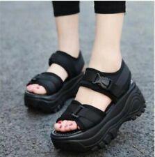 Womens Girls College Creeper Heels Platform Sandals Summer Holiday Shoes
