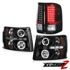 [BEAST COMBO] 07-14 Silverado Pick Up Truck Black LED Halo Head Light Tail Lamp