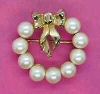 Vintage Marvella Brooch Faux Pearl Gold Tone Bow Open Round