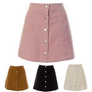 Womens A line Tan Black Pink White Cord Button Down Skirt Ladies Corduroy Short