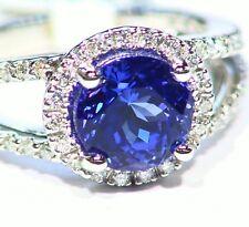 3.85CT 14K Gold Natural White Diamond Tanzanite Vintage AAAA Engagement Ring