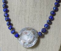 Vintage Blue Venetian Glass Overlay on Lava Beads Necklace MOP Carved Medallion