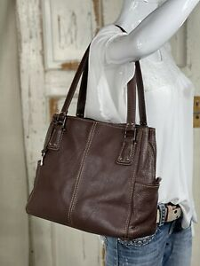 FOSSIL Blackburn Large BROWN Leather Satchel Shoulder Handbag Purse Tote VGUC