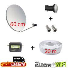 EKSELEANS Kit Antena Parabólica 60cm, LNB, 20m Cable Coaxial y Localizador (RS.KIT8)
