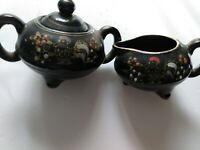 Sugar bowl and creamer set vintage hand painted chickens with flowers