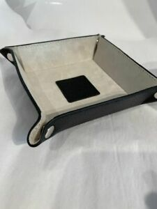 BLACK Leather Valet Tray for loose change Keys Jewelry