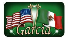 """Mexican & USA Unity Flags Decal Sticker Gifts Personalize 4"""" x 8"""" Green Latino"""