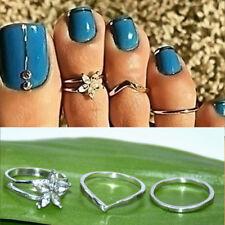3x Celebrity Silver Daisy Toe Ring Women Punk Style Finger Foot Toe Jewelry New