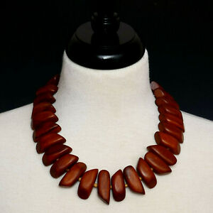 KENNETH JAY LANE KJL CHUNKY TRIBAL WOOD BEAD LINK STATEMENT NECKLACE BROWN