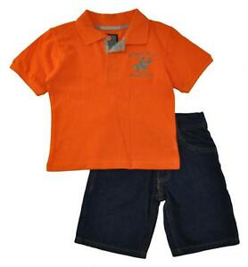 Beverly Hills Polo Club Boys Orange Polo 2pc Short Set Size 4 5/6 7