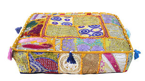 """18"""" Square Patchwork Large Indian Floor Cushion Decorative Ethnic Pillow Cover"""