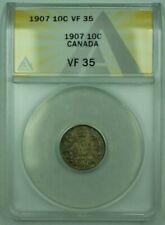 1907 Canda 10c 10 Cent Silver Coin ANACS VF-35